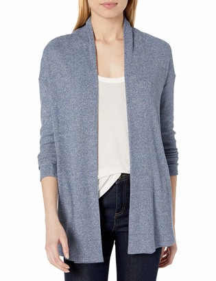 Daily Ritual Cozy Knit Rib Draped Open-Front Cardigan Sweater