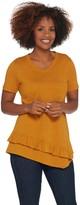 Logo By Lori Goldstein LOGO by Lori Goldstein Cotton Slub V-Neck Top w/ Ruffle Hem