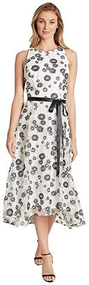 Tahari ASL High-Low Party Dress (Black/White Floral) Women's Dress