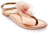 Women's Avianna Metallic Floral Thong Sandals - Tevolio
