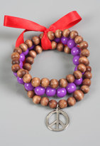 Peace Sign Bead Bracelets in Purple