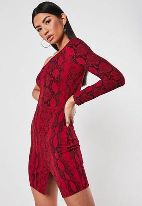 Missguided Red Snake Print One Sleeve Mini Dress