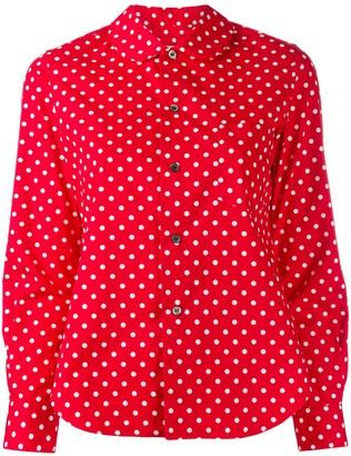 COMME DES GARÇONS GIRL Polka Dot Print Curved Hem Shirt