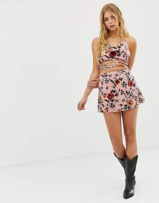 N. Ebonie Ivory ebonie ivory mini skirt in burnout velvet co-ord-Pink