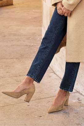 Next Womens Camel Leather Asymmetric Cut Court Shoes - Brown