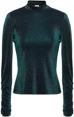 M Missoni Ruched Metallic Stretch-knit Top