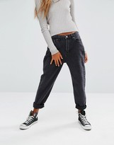 Pull&Bear Mom Jean In Washed Black