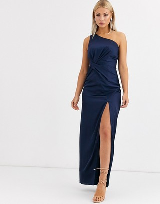 Jarlo one shoulder satin maxi dress with split in navy
