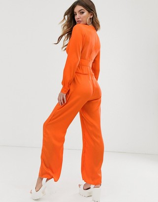 NA-KD Na Kd neon plunging v- cut jumpsuit-Orange