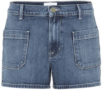 Frame Le Bardot high-rise denim shorts