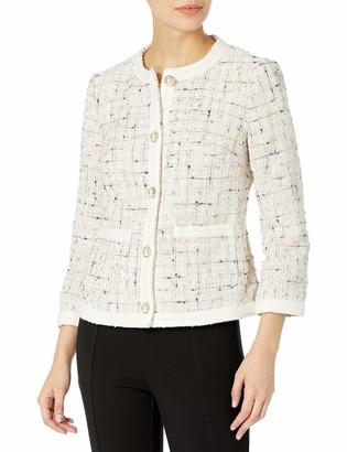 Anne Klein Women's Tweed Pearl Button Jacket