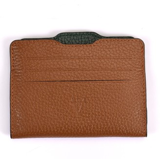 Double Card Holder Brown & Forest Green