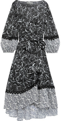 Sachin + Babi Mia Asymmetric Metallic Printed Chiffon Midi Dress