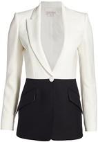 Alexander McQueen Two-Tone Wool & Silk Crepe Blazer Jacket