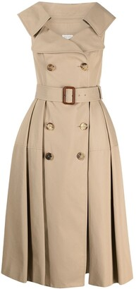 Alexander McQueen Sleeveless Pleated Trench Coat