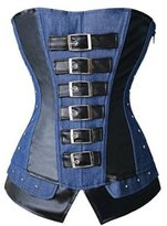 Zhitunemi Women's Fashion Unique Gothic Corset Steampunk Denim Jean Overbust Top Medium Blue