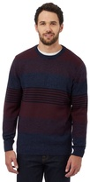 Maine New England Big And Tall Maroon Striped Crew Neck Jumper