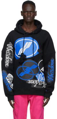 we11done Black Stacked Logo Hoodie