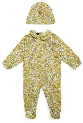 Versace Kids Barocco Print All-In-One And Hat Set (0-12 Months)