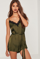Missguided Silky Eyelash Lace Playsuit Green