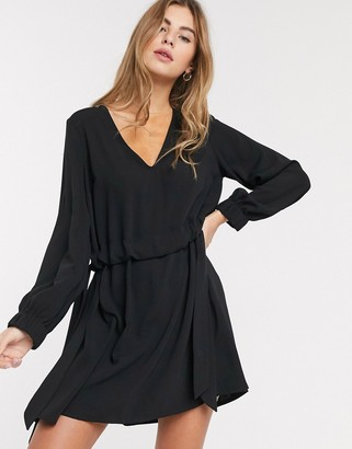 ASOS DESIGN v neck ruched waist chuck on mini dress with long sleeves in black