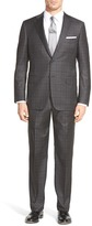 Hickey Freeman Beacon Gray Plaid Two Button Notch Lapel Wool Suit