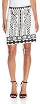 "MinkPink Women's ""Eco Warrior"" Embroidered Print Mix A-Line Mini Skirt"