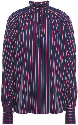 Stella Jean Ruffle-trimmed Striped Cotton-blend Blouse