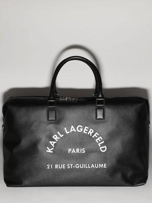 Karl Lagerfeld Paris Printed Logo Faux Leather Weekender Bag