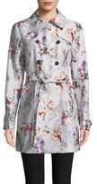 GUESS Floral Double-Breasted Trench Coat