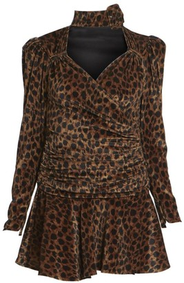 ATTICO Leopard Velvet Mini A-Line Dress