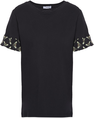 Isolda Print-trimmed Cotton-jersey T-shirt