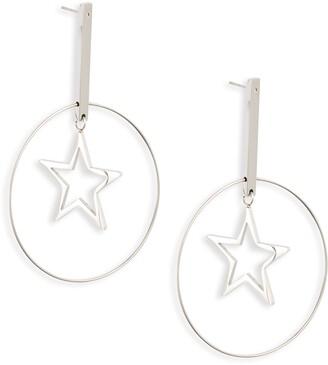 Knotty Floating Star Hoop Earrings