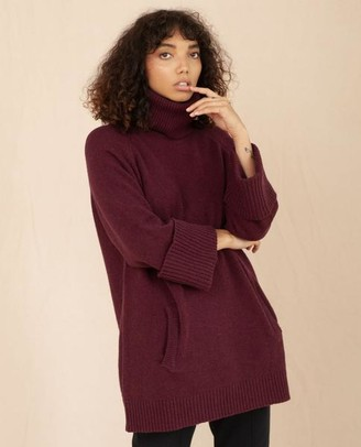 Beaumont Organic Nell Wool Jumper In Bordeaux - Bordeaux / Extra Small