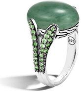 John Hardy Batu Classic Chain Silver Ring with Oval Green Jade, Size 7