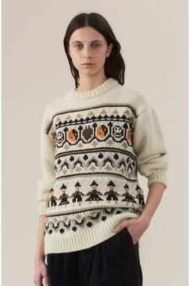Ganni Hand Knit Wool Pullover