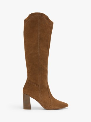 AND/OR Santino Suede Stacked Heel Knee High Boots, Tan