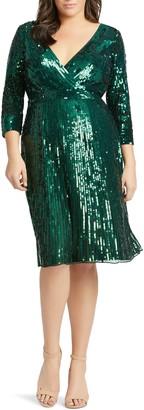 Mac Duggal Long Sleeve Sequin Cocktail Dress
