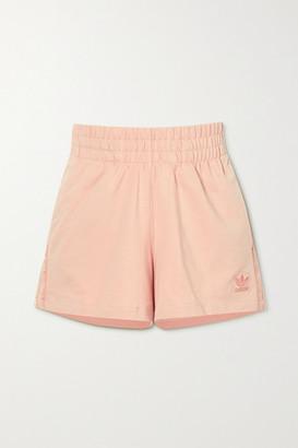 adidas Metallic-striped French Cotton-terry Shorts - Pink