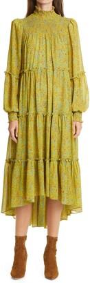 Cinq à Sept Rika Long Sleeve High/Low Mid Dress