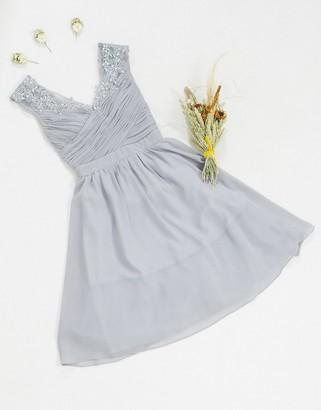 Little Mistress bridesmaid lace detail midi dress in grey