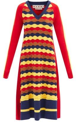 Marni Flared Wave-knitted Wool Dress - Multi