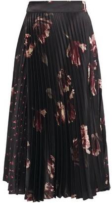 Vince Pleated Floral-print Satin Midi Skirt
