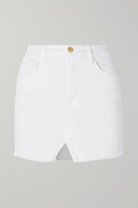 Frame Le Mini Distressed Denim Skirt - White
