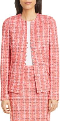 St. John Bold Vertical Tweed Knit Jacket