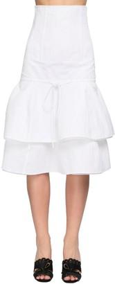 Brock Collection Ruffled Cotton Blend Midi Skirt