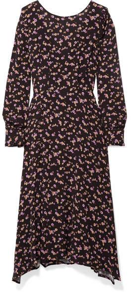 Paul & Joe Floral-print Crepe Midi Dress - Black