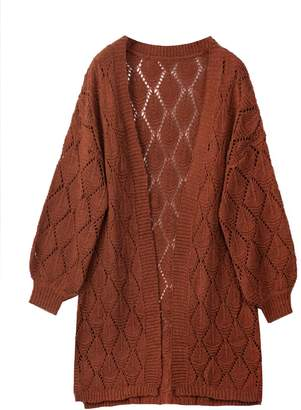 Goodnight Macaroon 'Jojo' Openwork Knit Long Cardigan (4 Colors)