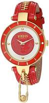 Versus By Versace Women's 'KEY BISCAYNE II' Quartz Stainless Steel and Leather Casual Watch, Color:Red (Model: SCK070016)
