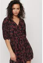 Dynamite Balloon Sleeve Wrap Dress Red Floral on Black